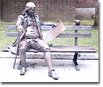 Franklin reading the Pennsylvania Gazette