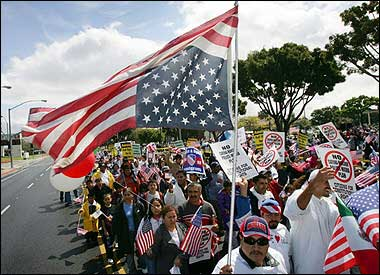 Flag code violations april 2006 latino protesters carry a us flag union down to protest pending federal legislation with harsher immigration policies in costa mesa sciox Choice Image