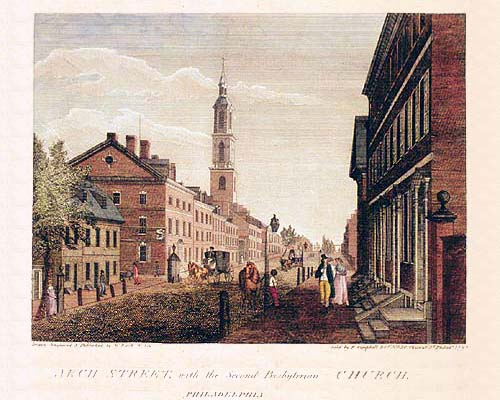 William Birch engraving of 400 Arch Street, Philadelphia, ca. 1799