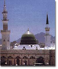 The prophet Mohammad's mosque in Madina