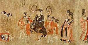 The 13 Emperors, late 7th century silk painting