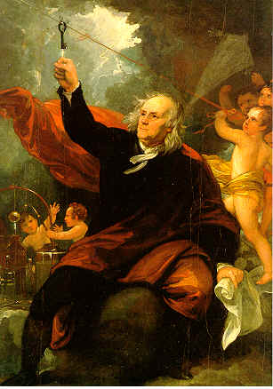 Benjamin Franklin Drawing Electricity from the Sky by Benjamin West (1738-1820)