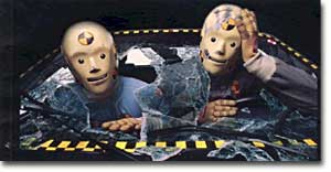 Vince and Larry, crash test dummies