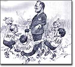 FDR New Deal programs political cartoon
