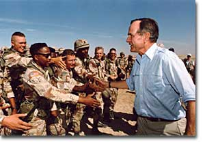 President Bush greets the troops