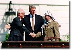 President Clinton, Yitzhak Rabin, and Yasser Arafat