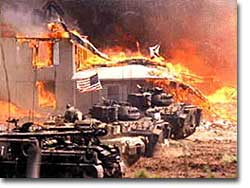Branch Davidian compound on fire