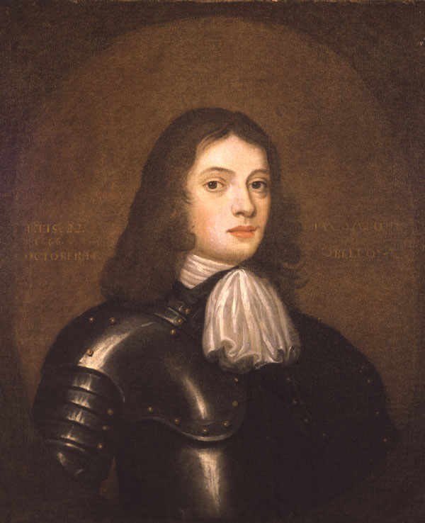 Young William Penn in Armour. Painted in the fall of 1667 after he and a friend led the rebeliion at Carrickfergus.