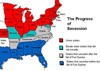 This map shows the states that seceded from the Union before the fall