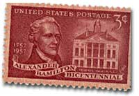 3¢ stamp commemorating Alexander Hamilton, the leading Federalist