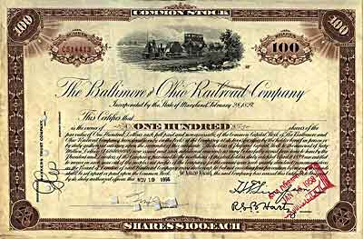 Baltimore and Ohio railroad stock