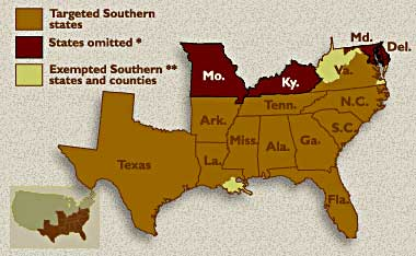 Areas Under Emancipation Proclamation