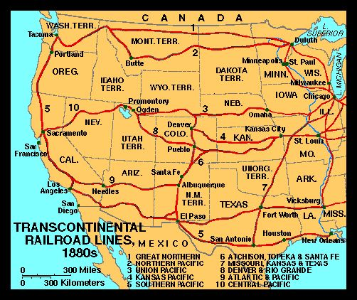 map of transcontinental railroad lines 1880s